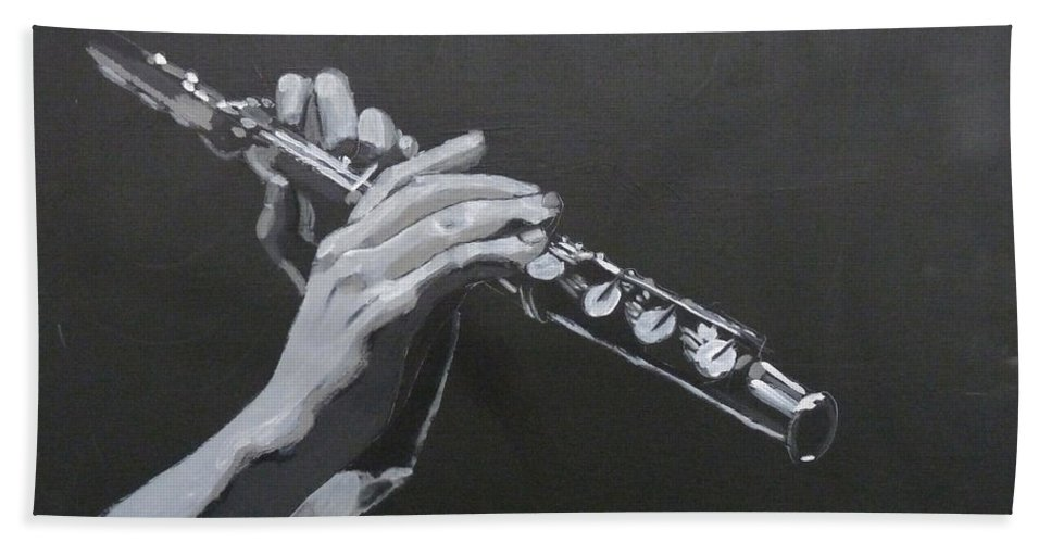 Flute Bath Sheet featuring the painting Flute Hands by Richard Le Page