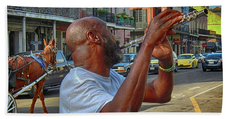 Flute Bath Sheet featuring the photograph Flute Musician In New Orleans by Jennifer Stackpole
