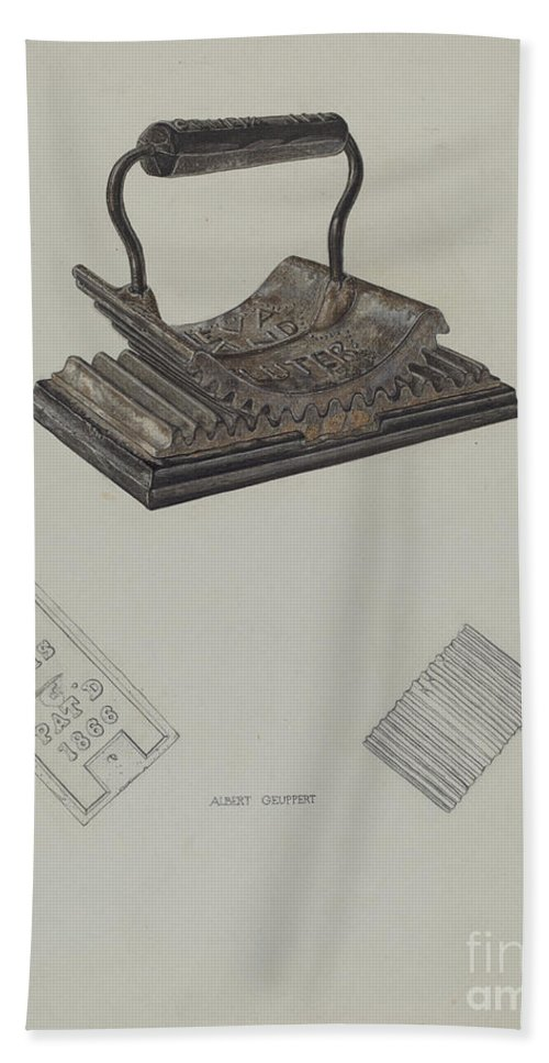 Hand Towel featuring the drawing Fluting Iron by Albert Geuppert