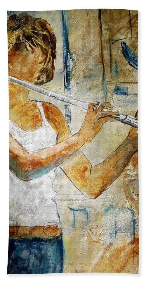 Music Hand Towel featuring the painting Flutist by Pol Ledent