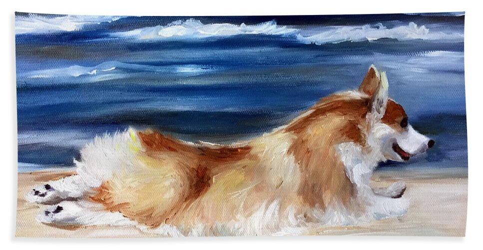 Dog Art Bath Sheet featuring the painting Fly Away by Mary Sparrow