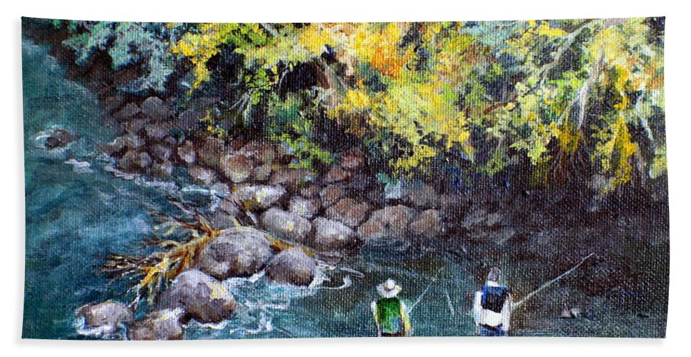 Fishing Bath Sheet featuring the painting Fly Fishing by Linda Shackelford