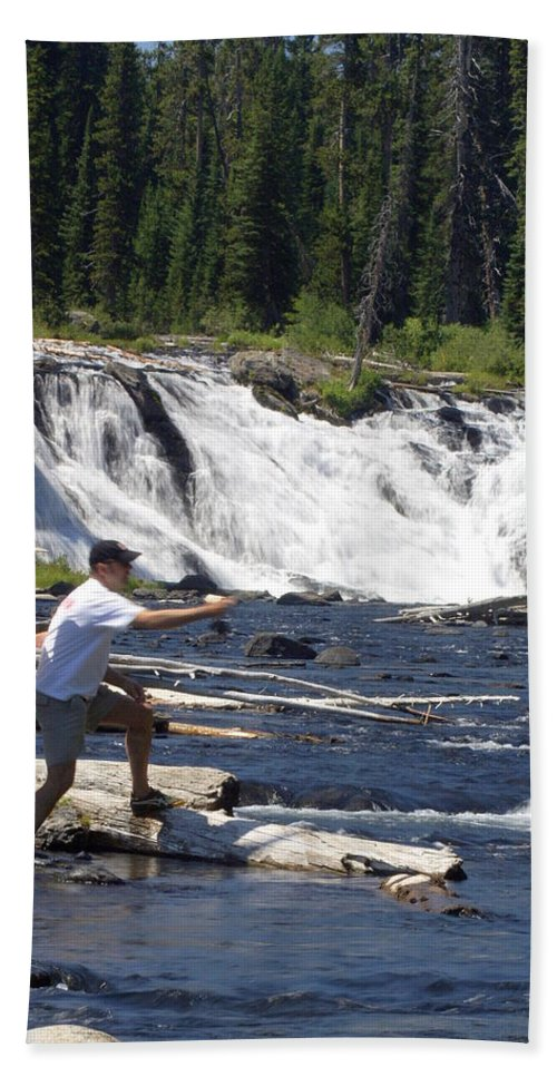 Fly Fishing Bath Sheet featuring the photograph Fly Fishing The Lewis River by Marty Koch