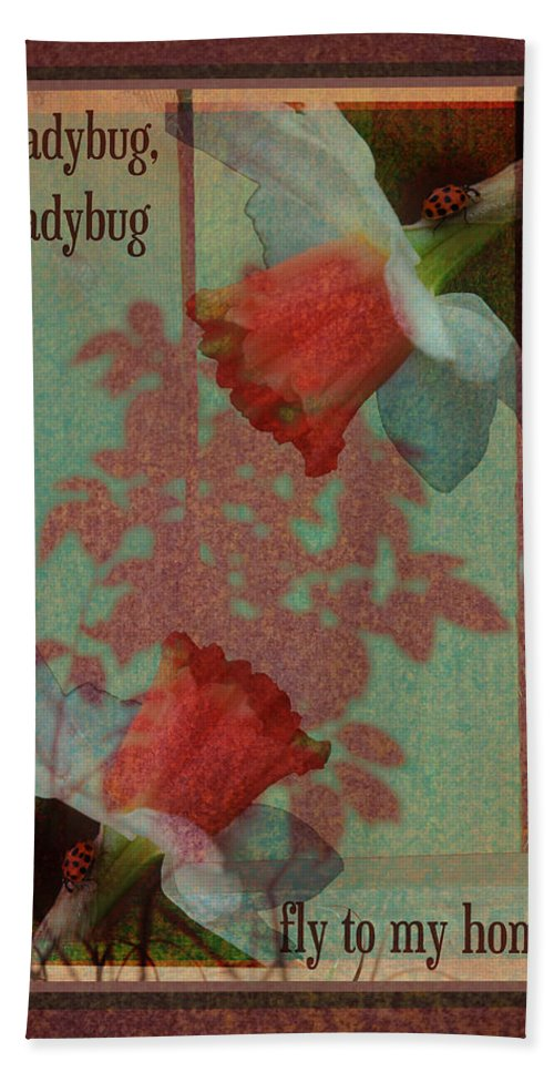 Ladybug Bath Sheet featuring the photograph Fly To My Home by Karen Beasley