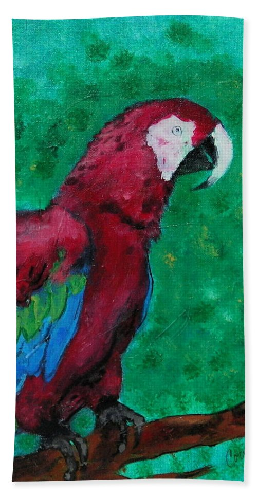 Parrot Hand Towel featuring the painting Flying Colors by Cori Solomon