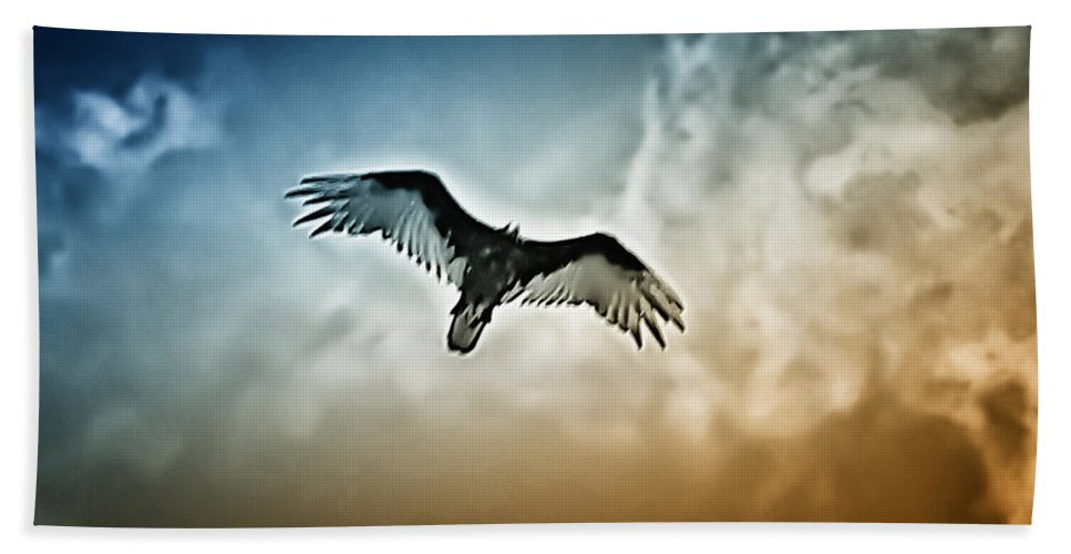 Falcon Bath Towel featuring the photograph Flying Falcon by Bill Cannon