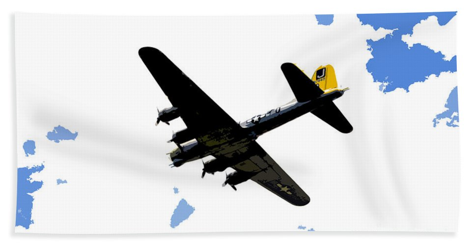 B 17 Hand Towel featuring the photograph Flying For Home by David Lee Thompson
