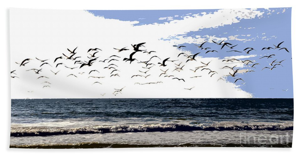 Beach Hand Towel featuring the painting Flying Gulls by David Lee Thompson