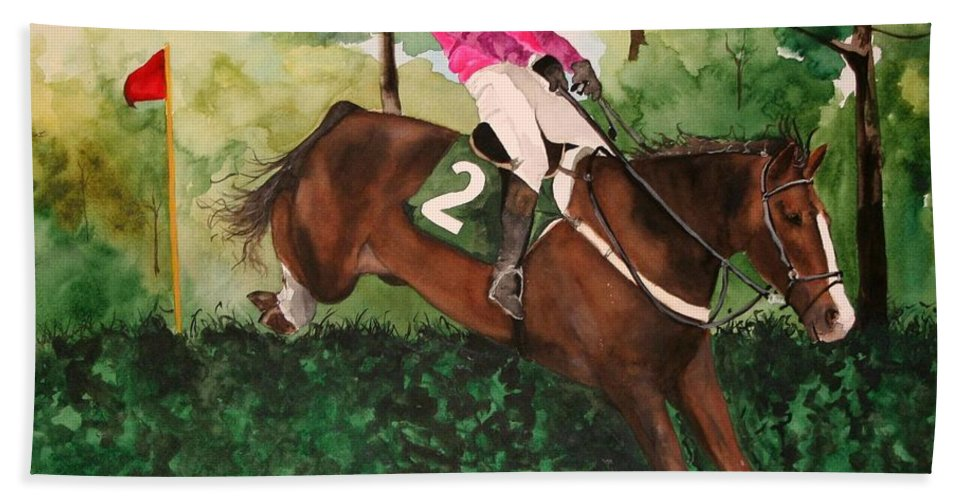 Horse Bath Towel featuring the painting Flying High by Jean Blackmer