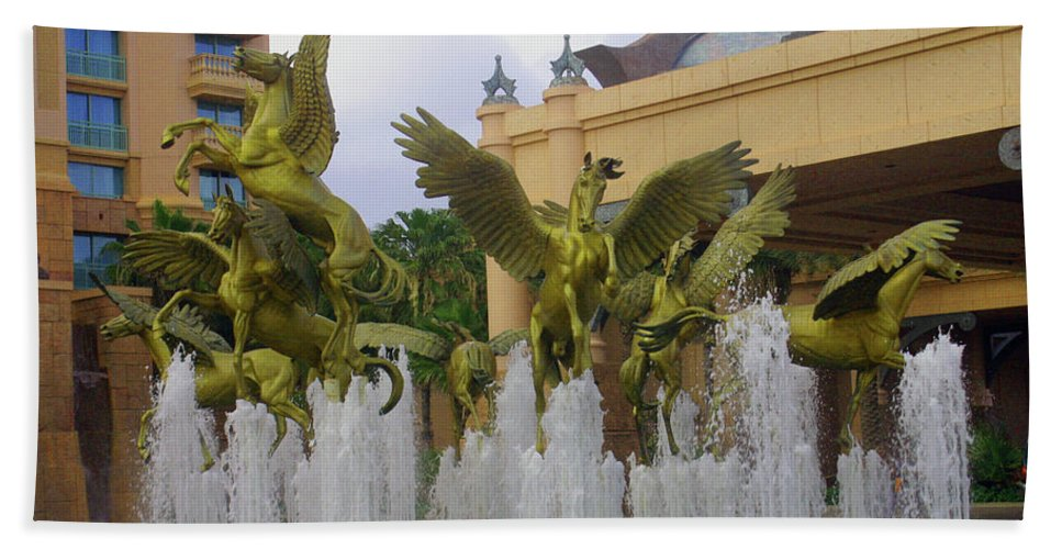 Flying Horses Of Atlantis Hand Towel featuring the photograph Flying Horses Of Atlantis by Imagery-at- Work