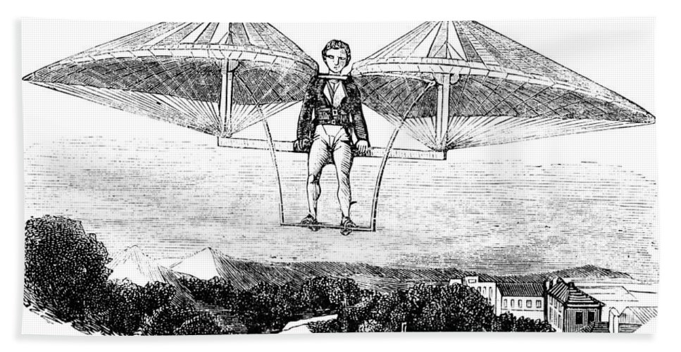 1807 Bath Sheet featuring the photograph Flying Machine, 1807 by Granger
