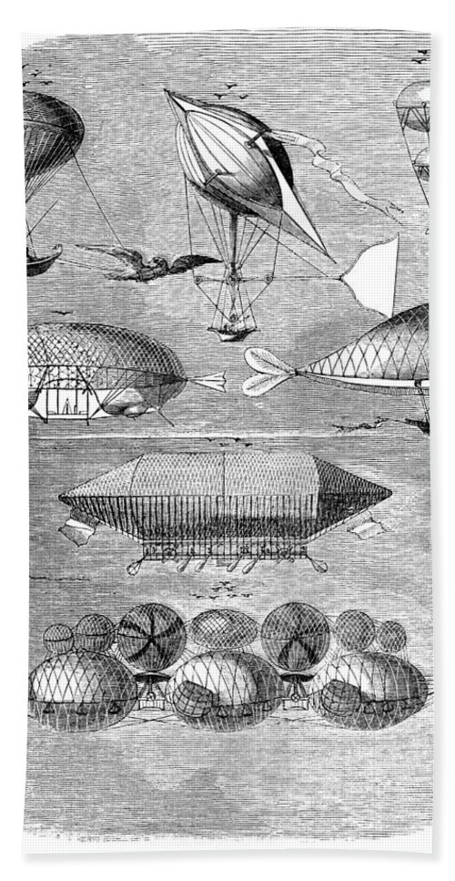 1856 Bath Sheet featuring the photograph Flying Machines, 1856 by Granger