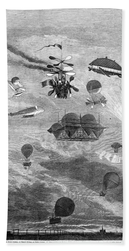 1864 Bath Sheet featuring the photograph Flying Machines, 1864 by Granger