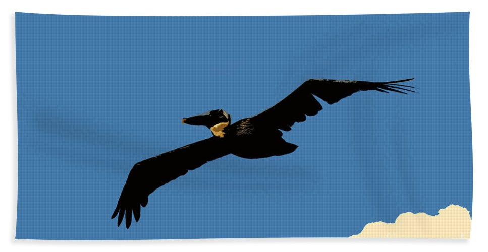 Pelican Bath Towel featuring the photograph Flying Pelican by David Lee Thompson
