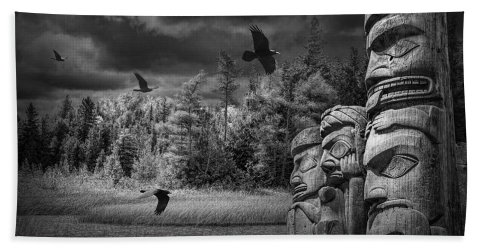 Totem Hand Towel featuring the photograph Flying Ravens And Totem Poles In Black And White by Randall Nyhof