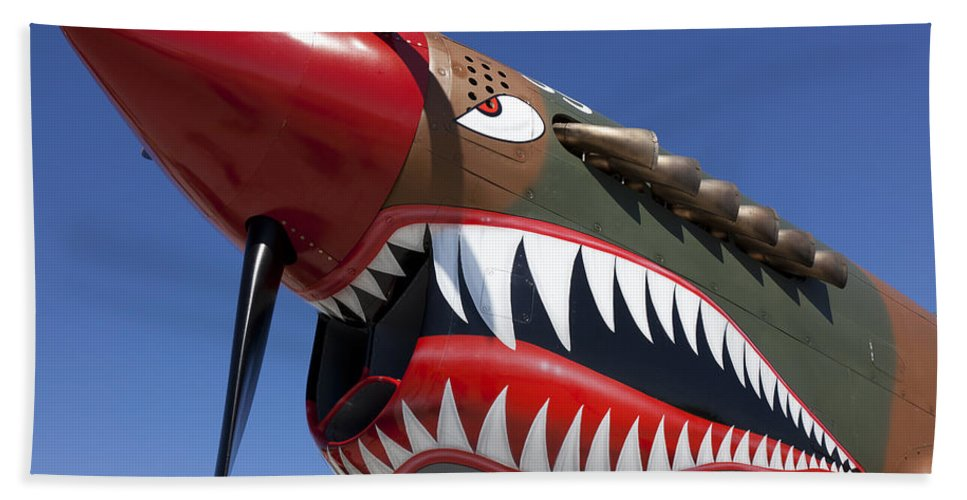 P-40 Hand Towel featuring the photograph Flying Tiger Plane by Garry Gay