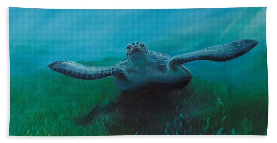 Turtle Hand Towel featuring the painting Flying Turtle by Ksenia Sergeeva