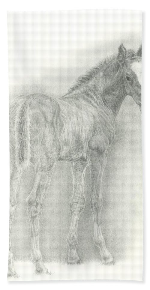 Foal Hand Towel featuring the drawing Spring Foal by Jennifer Nilsson