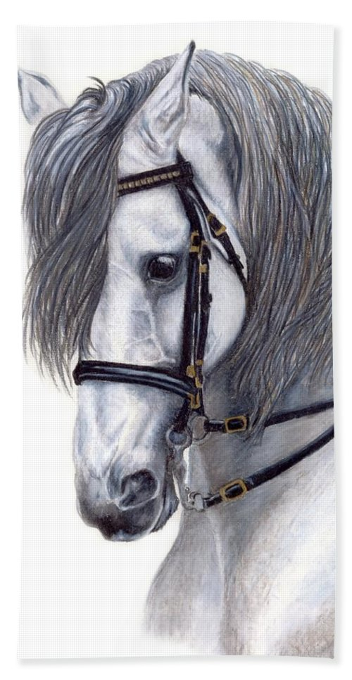 Horse Hand Towel featuring the drawing Focus by Kristen Wesch