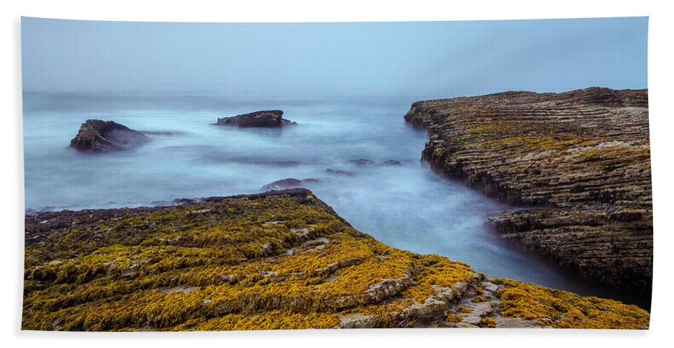 Landscape Bath Sheet featuring the photograph Fog And The Sea by Jonathan Nguyen