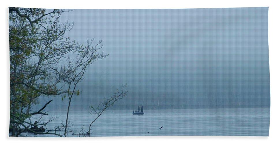 Bath Towel featuring the photograph Fog Fishing by Tony Umana