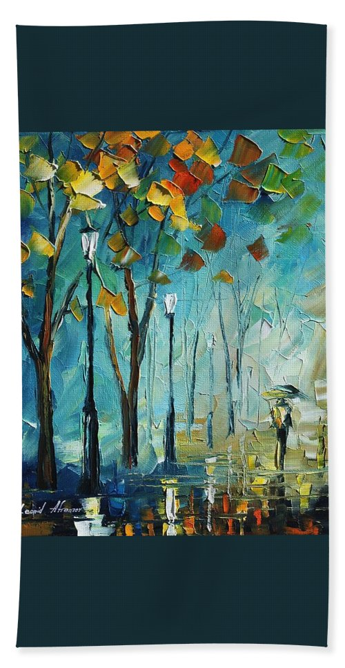 Afremov Hand Towel featuring the painting fog by Leonid Afremov