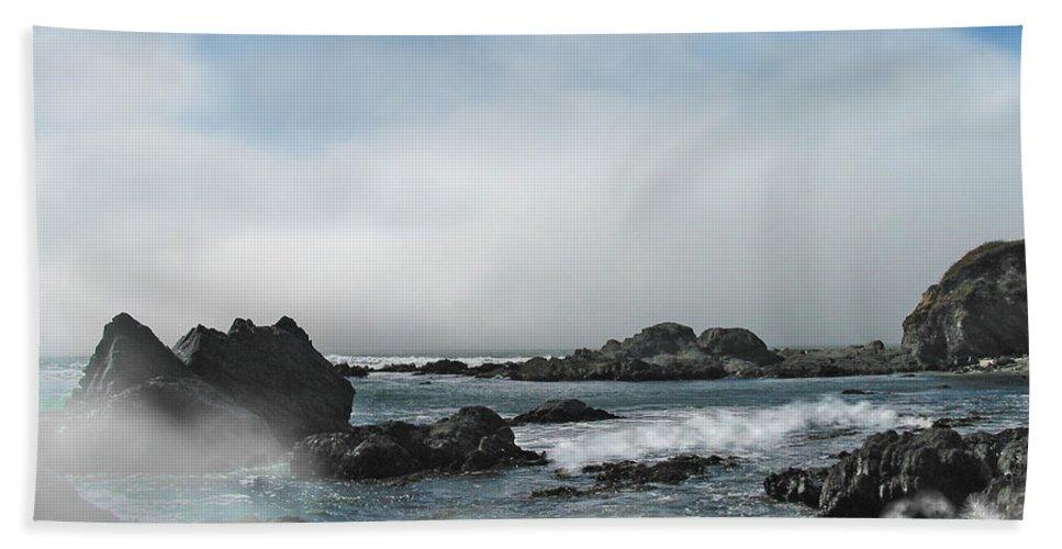 Ocean Bath Sheet featuring the photograph Fog Lift by Karen W Meyer