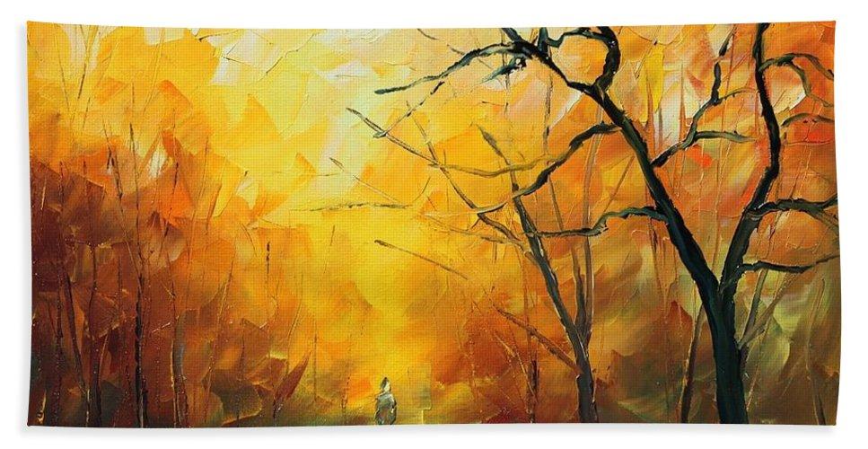 Afremov Bath Sheet featuring the painting Fog New by Leonid Afremov