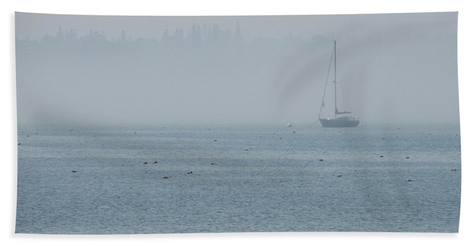 Fog Bath Sheet featuring the photograph Fog On Davis Cove by Kelly Mezzapelle