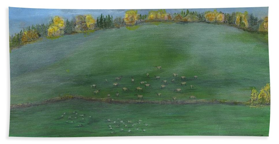 Elk Hand Towel featuring the painting Foggy Field by Sara Stevenson