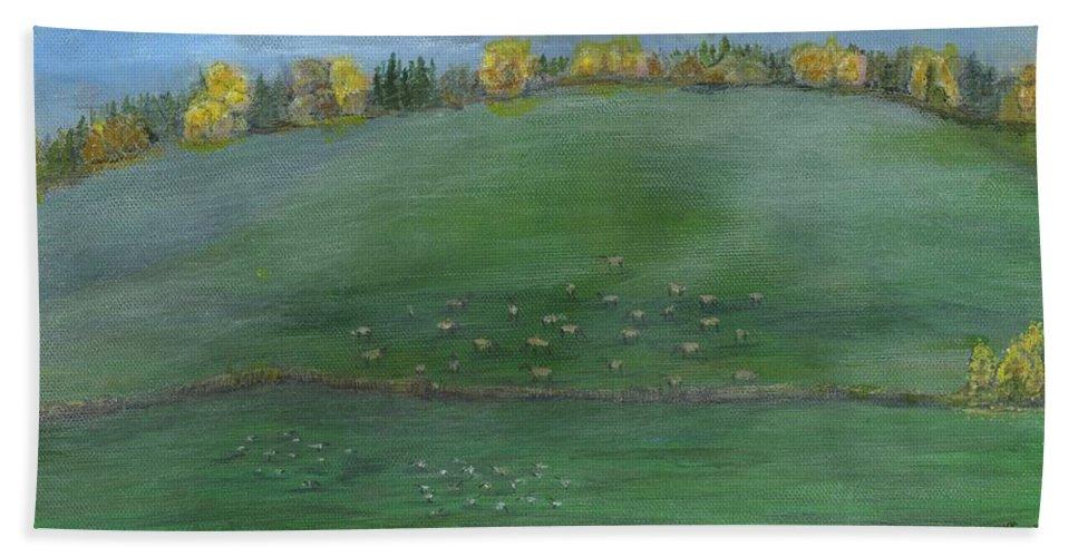 Elk Bath Sheet featuring the painting Foggy Field by Sara Stevenson