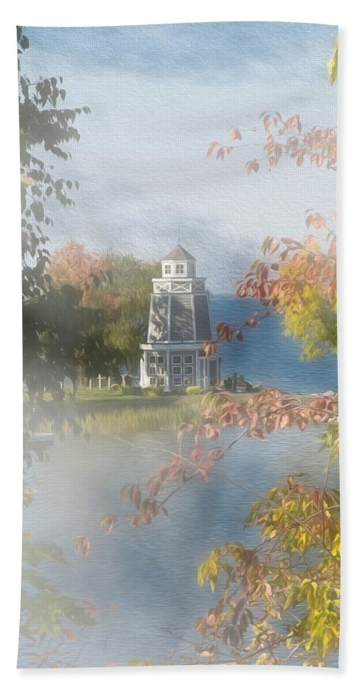 Architecture Hand Towel featuring the photograph Foggy Morning At The Lake by John M Bailey