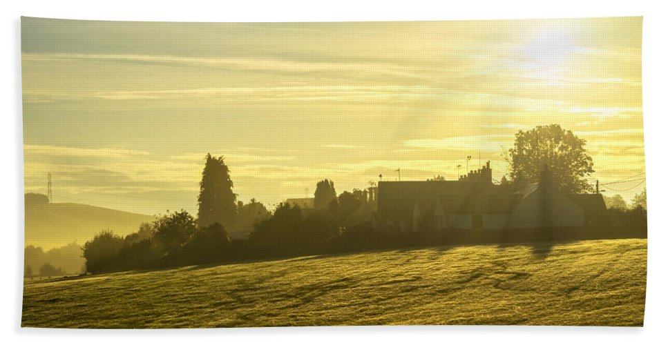 Sony Hand Towel featuring the photograph Foggy Morning Over Kennet Village by Jeremy Lavender Photography