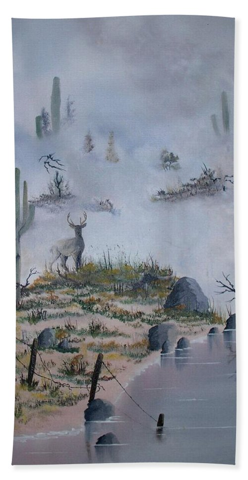 Animals Hand Towel featuring the painting Foggy Morning by Patrick Trotter