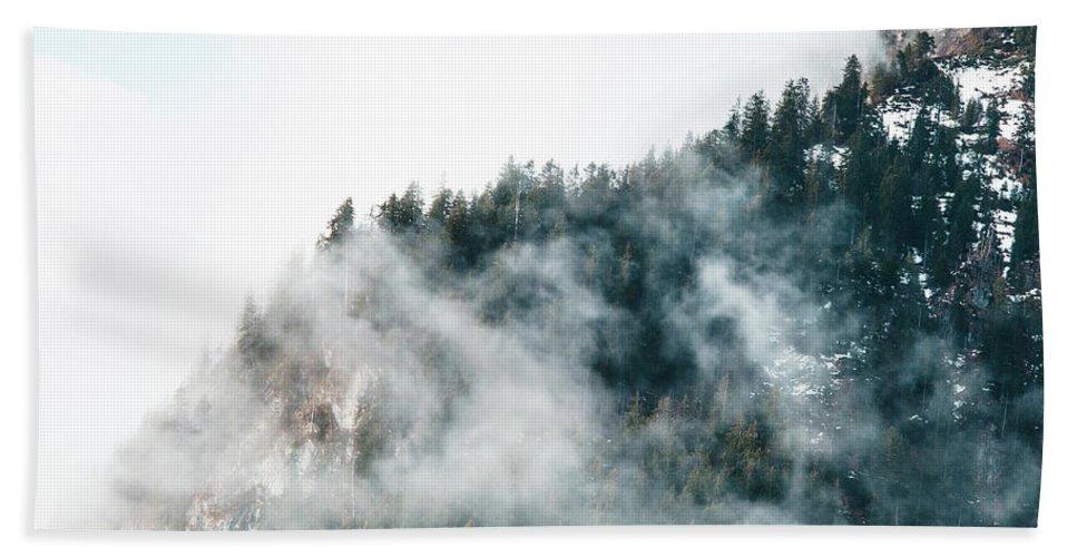 Foggy Bath Sheet featuring the photograph Foggy Mountains by Sirawish Sapthayutakun
