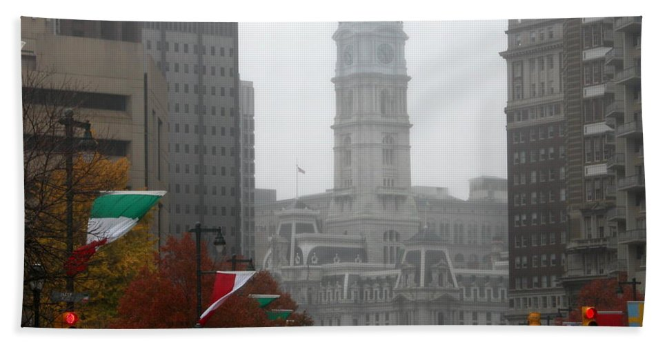 Photograph Hand Towel featuring the photograph Foggy Philadelphia by Jan Gilmore