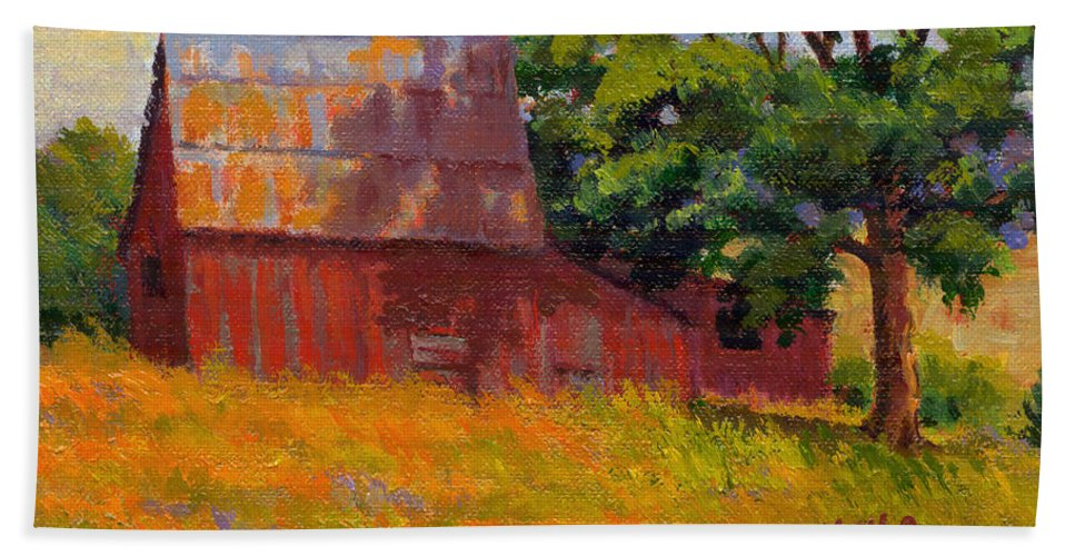 Landscape Bath Sheet featuring the painting Foglesong Barn by Keith Burgess