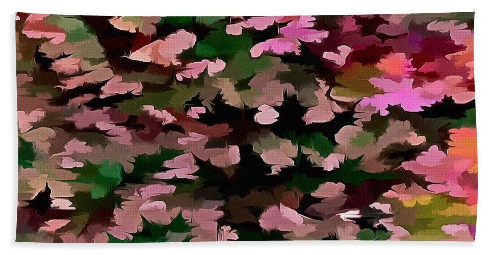 Dusty Miller Bath Sheet featuring the digital art Foliage Abstract In Pink, Peach And Green by Taiche Acrylic Art