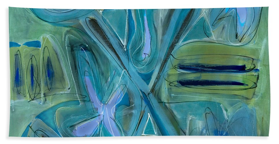 Abstract Bath Sheet featuring the painting Follow Your Bliss by Lynne Taetzsch