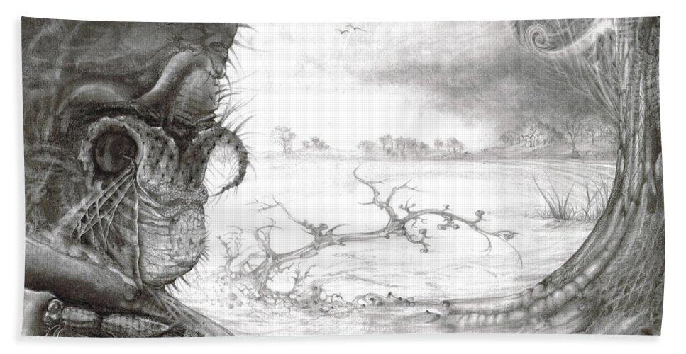 Fomorii Bath Towel featuring the drawing Fomorii Swamp by Otto Rapp