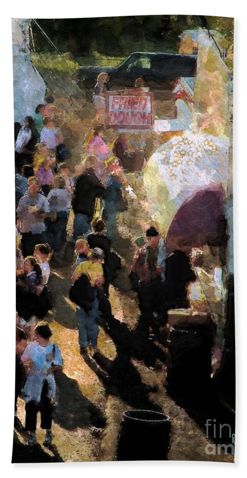 Americana Bath Towel featuring the painting Food Alley At The Country Fair by RC DeWinter