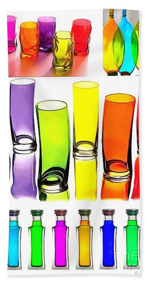 Food Coloring Ensemble-rainbow Theme Bath Sheet featuring the painting Food Coloring Ensemble-rainbow Theme by Catherine Lott