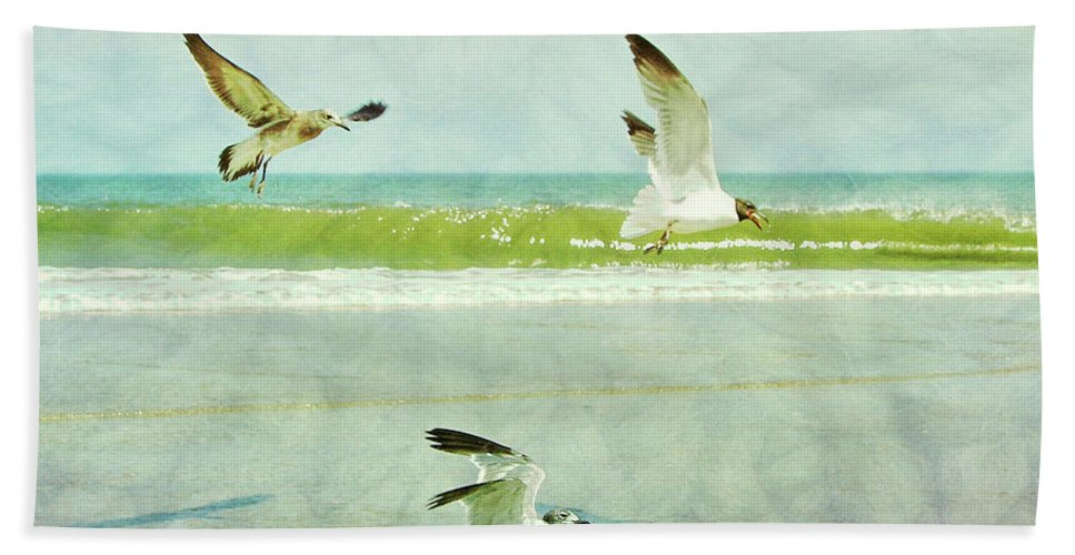 Seagull Bath Sheet featuring the photograph Food Fight by JAMART Photography