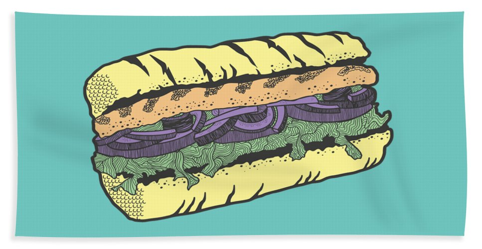 Sandwich Bath Towel featuring the drawing Food masquerade by Freshinkstain