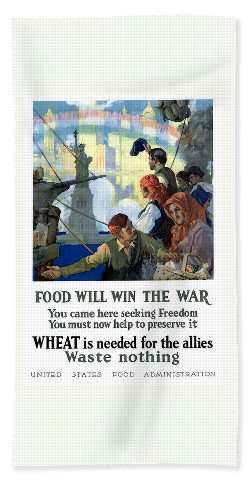Immigrants Bath Towel featuring the painting Food Will Win The War by War Is Hell Store