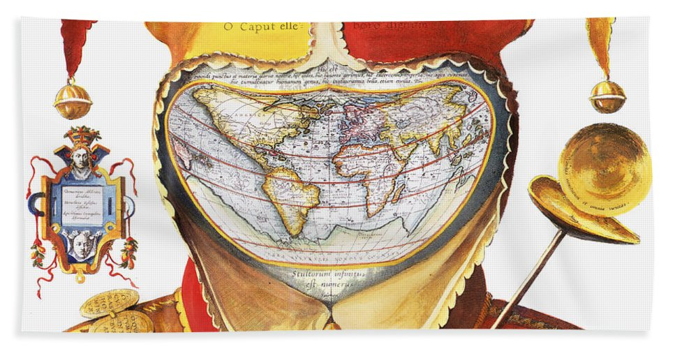 1590 Hand Towel featuring the photograph Fools Cap World Map, C1590 by Granger