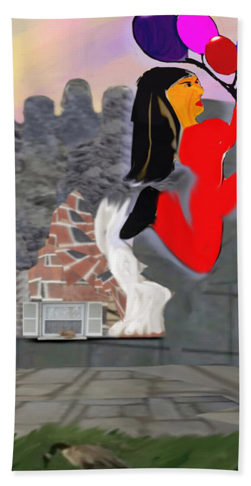 Balloon Hand Towel featuring the digital art Foot Be Alone Shoe by Marcia Kaye Rogers
