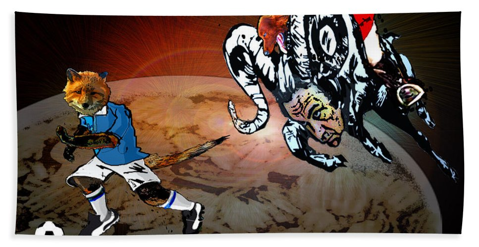 Football Calendar 2009 Derby County Football Club Leicester Artwork Miki Hand Towel featuring the painting Football Derby Rams Against Leicester Foxes by Miki De Goodaboom