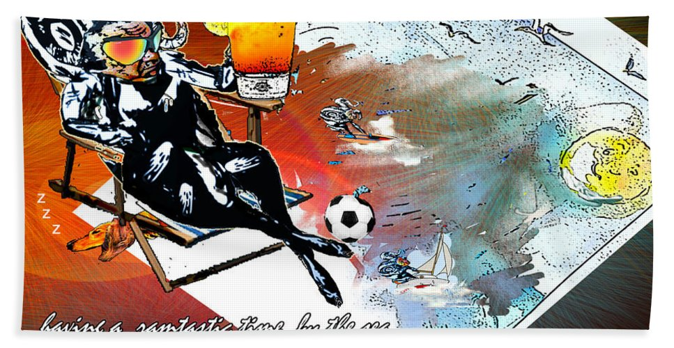 Football Calendar 2009 Derby County Football Club Artwork Miki Hand Towel featuring the painting Football Derby Rams On Holidays By The Sea by Miki De Goodaboom