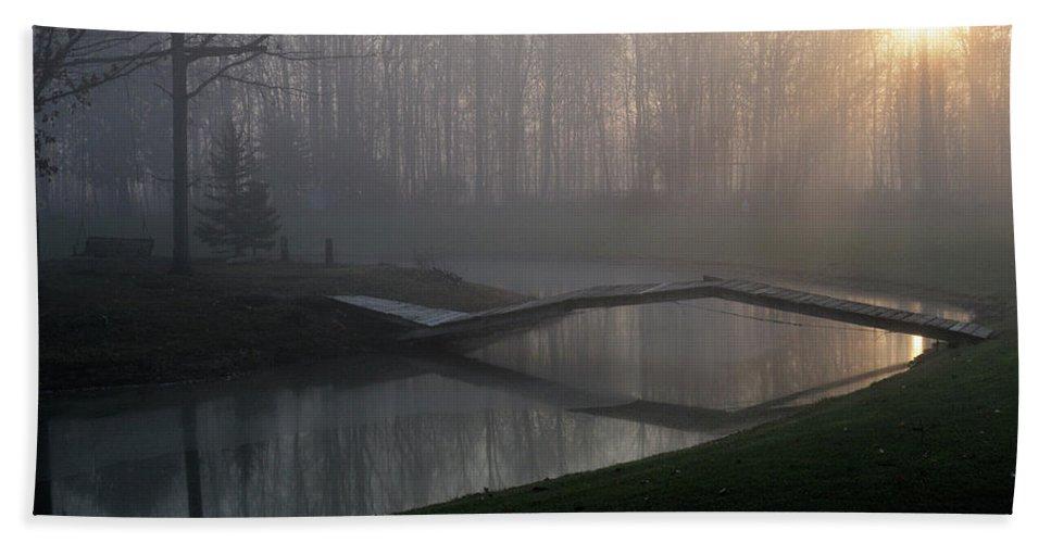 Bridge Hand Towel featuring the photograph Footbridge by David Arment
